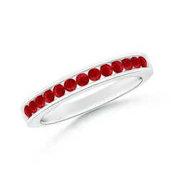 Channel Set Half Eternity Ruby Wedding Band