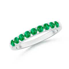 Shared Prong Set Half Eternity Emerald Wedding Band