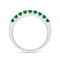 Toggle Shared Prong Set Half Eternity Emerald Wedding Band