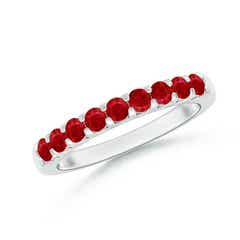Shared Prong Set Half Eternity Ruby Wedding Band