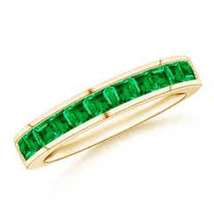 Channel Set Square Emerald Half Eternity Band