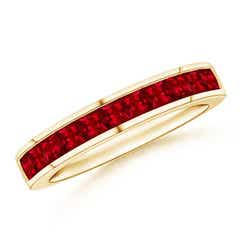Channel Set Square Ruby Half Eternity Band