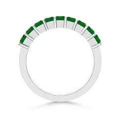 Toggle Square Emerald Semi Eternity Classic Wedding Band