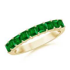 Square Emerald Semi Eternity Classic Wedding Band