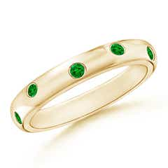 Gypsy Set Emerald High Dome Wedding Band