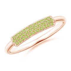Triple Row Peridot Dome Wedding Band