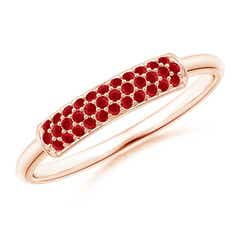 Triple Row Ruby Dome Wedding Band