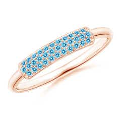 Triple Row Swiss Blue Topaz Dome Wedding Band