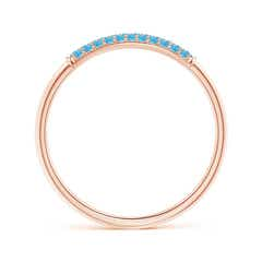 Toggle Triple Row Swiss Blue Topaz Dome Wedding Band