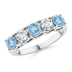 Half Eternity Five Stone Aquamarine and Diamond Wedding Band