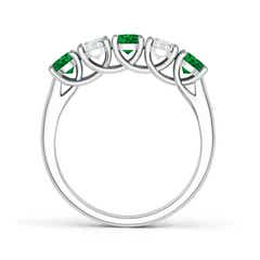 Toggle Half Eternity 5 Stone Emerald and Diamond Wedding Band