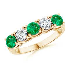 Half Eternity 5 Stone Emerald and Diamond Wedding Band