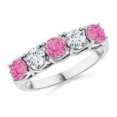 Half Eternity 5 Stone Pink Sapphire & Diamond Wedding Band
