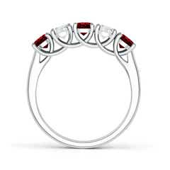 Toggle Half Eternity Five Stone Ruby and Diamond Wedding Band
