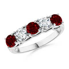 Half Eternity Five Stone Ruby and Diamond Wedding Band