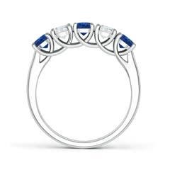 Half Eternity Five Stone Sapphire and Diamond Wedding Band