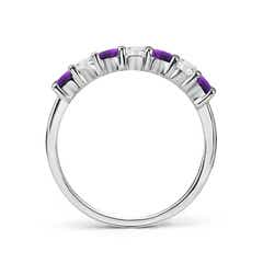 Toggle Half Eternity Seven Stone Amethyst and Diamond Wedding Band
