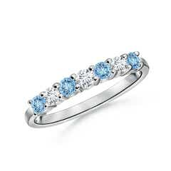 Half Eternity Seven Stone Aquamarine and Diamond Wedding Band