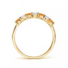 Toggle Half Eternity Seven Stone Citrine and Diamond Wedding Band
