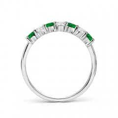 Toggle Half Eternity Seven Stone Emerald and Diamond Wedding Band