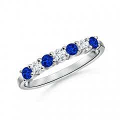 Half Eternity Seven Stone Sapphire and Diamond Wedding Band