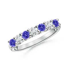 Half Eternity 7 Stone Tanzanite and Diamond Wedding Band