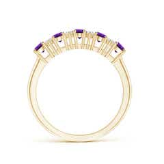 Toggle Five Stone Amethyst and Diamond Wedding Band