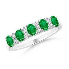 Five Stone Emerald and Diamond Wedding Band