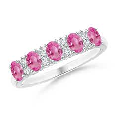 Five Stone Pink Sapphire and Diamond Wedding Band