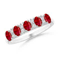 Five Stone Ruby and Diamond Wedding Band