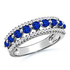 Floating Blue Sapphire Half Eternity Band with Diamonds