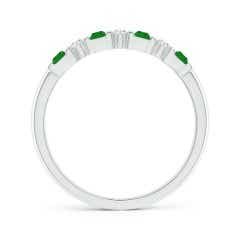 Toggle Vertically Channel Set Emerald and Diamond Half Eternity Band
