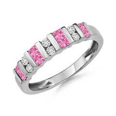 Vertically Channel Set Pink Sapphire & Diamond Half Eternity Band