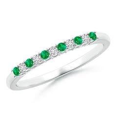 emerald and diamond half eternity wedding band - Emerald Wedding Rings
