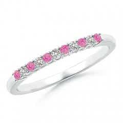 Pink Sapphire and Diamond Half Eternity Wedding Band