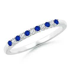 Blue Sapphire and Diamond Half Eternity Wedding Band