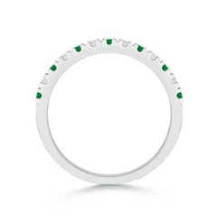 Toggle U Prong Emerald and Diamond Half Eternity Wedding Band