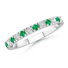 U Prong Emerald and Diamond Half Eternity Wedding Band
