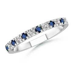 U Prong Sapphire Diamond Half Eternity Wedding Band