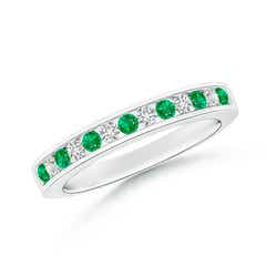 Channel Set Emerald and Diamond Semi Eternity Band