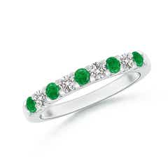 Shared Prong Emerald and Diamond Half Eternity Band