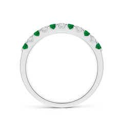 Toggle Shared Prong Emerald and Diamond Half Eternity Band