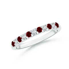 Shared Prong Ruby and Diamond Half Eternity Band