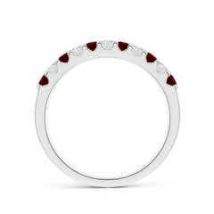 Toggle Shared Prong Ruby and Diamond Half Eternity Band