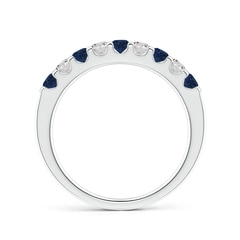 Shared Prong Sapphire and Diamond Half Eternity Band