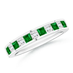Channel Square Emerald and Diamond Half Eternity Band