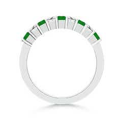 Toggle Square Emerald and Princess Diamond Semi Eternity Classic Wedding Band