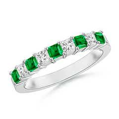 Square Emerald and Princess Diamond Semi Eternity Classic Wedding Band
