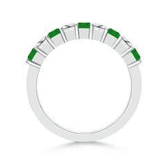 Toggle Square Emerald and Princess Diamond Semi Eternity Classic Wedding Band