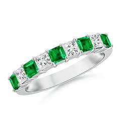 Square Emerald and Princess Diamond Semi Eternity Classic Wedding Band